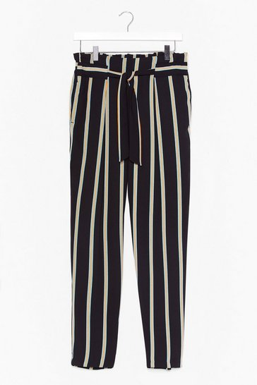 Black Right on Line Belted Striped Pants