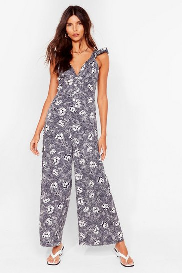 Navy Such a Grow Off Floral Culotte Jumpsuit
