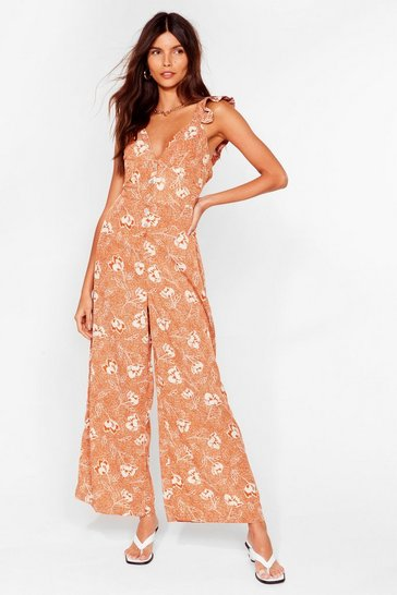 Tan Such a Grow Off Floral Culotte Jumpsuit
