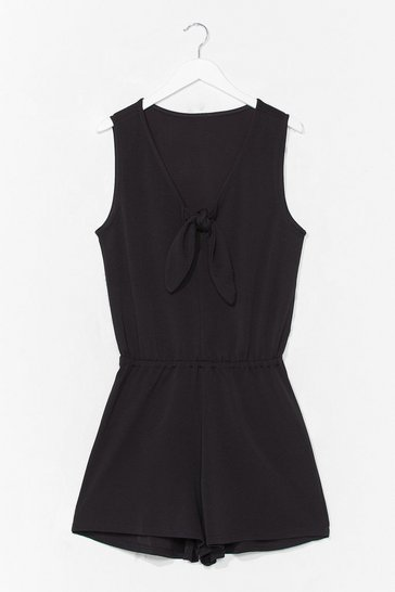 Black Can't Tie My Love Relaxed Romper