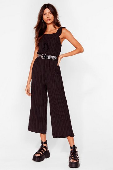 Black Just for the Frill of It Ribbed Culotte Jumpsuit