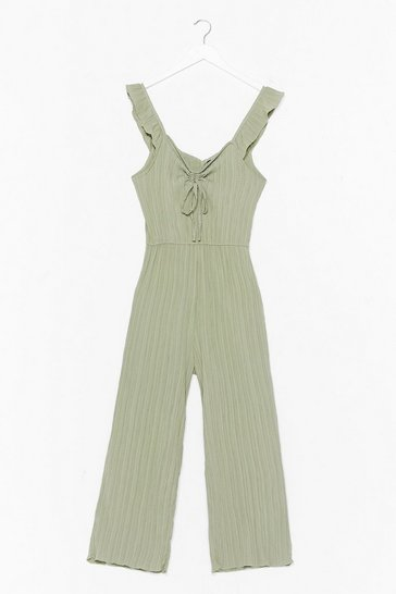 Sage Just for the Frill of It Ribbed Culotte Jumpsuit