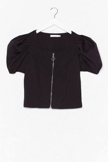 Black Zip It in the Bud Puff Sleeve Crop Top