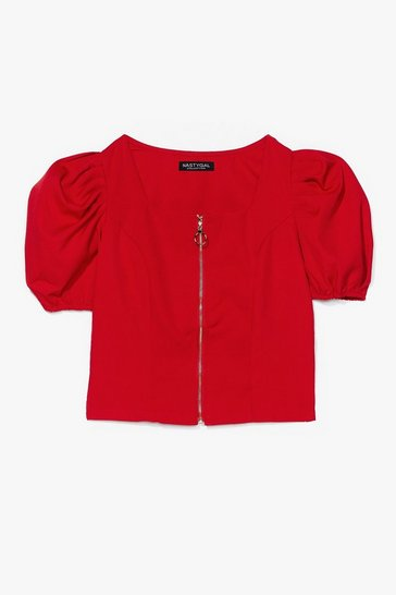 Red Zip It in the Bud Puff Sleeve Crop Top