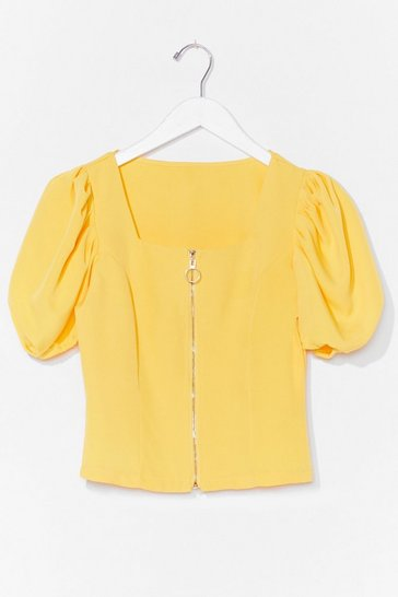 Yellow Zip It in the Bud Puff Sleeve Crop Top