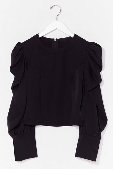 Black Hot Puff Sleeve Zip Blouse