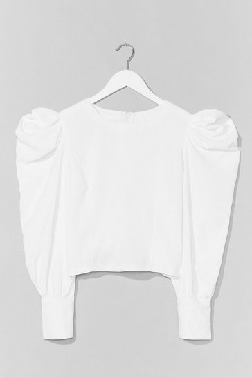 White Hot Puff Sleeve Zip Blouse