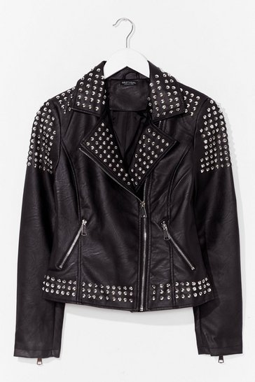 Black Born to Be Wild Faux Leather Studded Jacket
