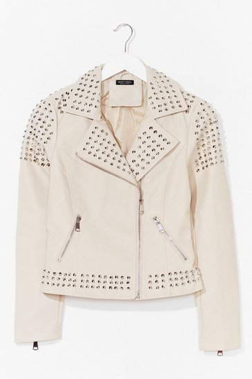 Cream Born to Be Wild Faux Leather Studded Jacket