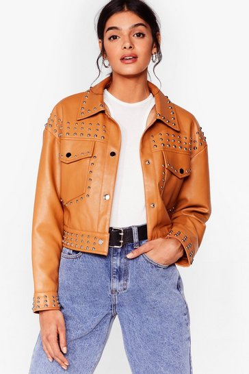 Camel Tell Me About It Stud Faux Leather Shirt Jacket