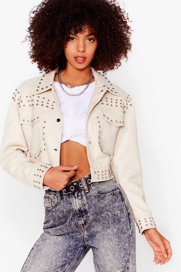 Cream Tell Me About It Stud Faux Leather Shirt Jacket