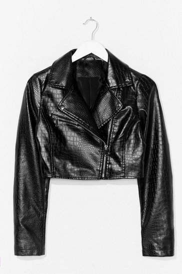 Black Time to Croc It Faux Leather Cropped Jacket