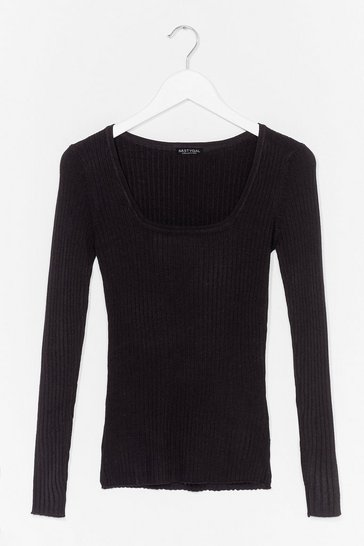 Black Square's Always Later Ribbed Fitted Top