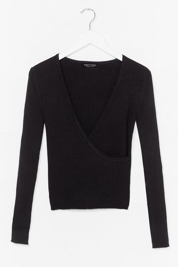 Black Wrap It Up Wrap It In Ribbed Knit Top