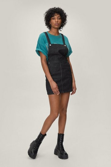 Black Be Stripe Back Denim Overall Dress