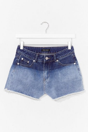 Blue Dip Dye It Low Raw Hem Denim Shorts