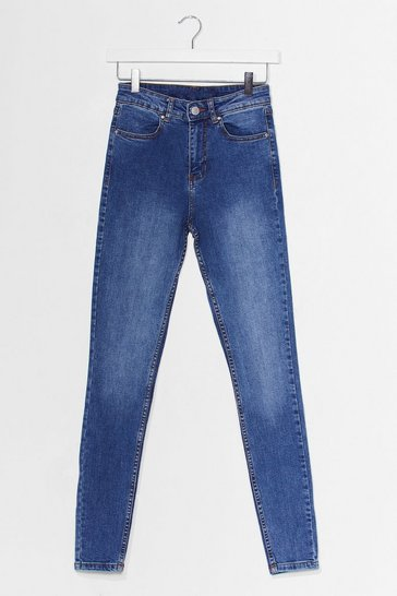 Blue Hey Wash Out High-Waisted Skinny Jeans