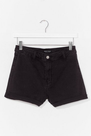 Black Turn Up High Waisted Denim Shorts