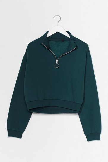 Green Get Zip Done Cropped Sweatshirt