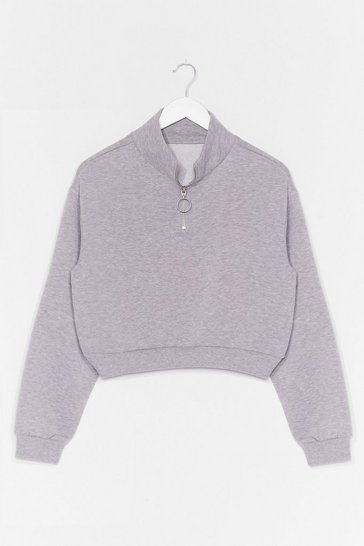Grey Get Zip Done Cropped Sweatshirt