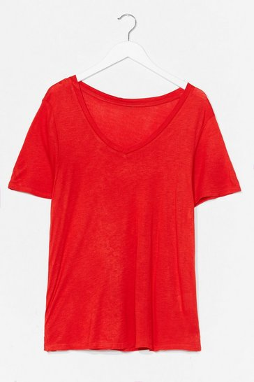 Red Low V Basic Soft Tee