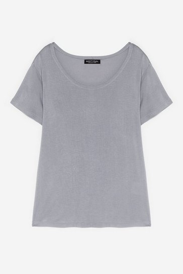 Grey Soft Spot Scoop Neck Relaxed Tee