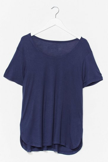 Navy Scoop Neck Soft Basic Tee