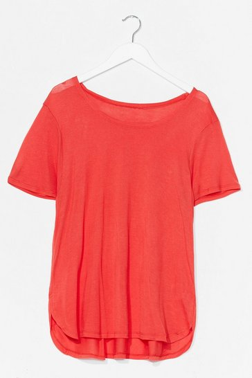 Red Soft Spot Scoop Neck Relaxed Tee