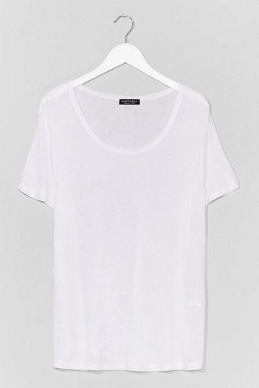 White Soft Spot Scoop Neck Relaxed Tee