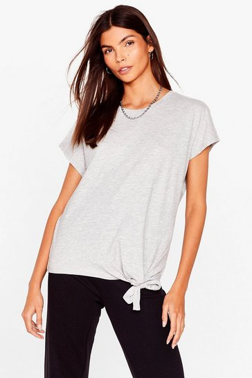 Grey Up to Knot Good Tie Hem Tee