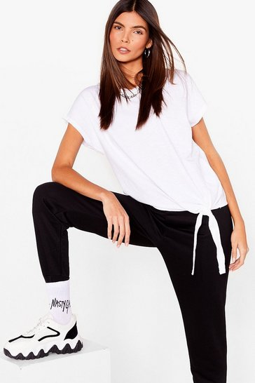 White Up to Knot Good Tie Hem Tee