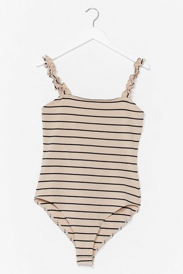 Navy You'll Ruffle Up Striped High-Leg Bodysuit