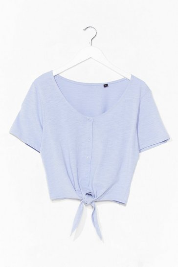 Lavender Nothin' Button Love Tie Cropped Tee
