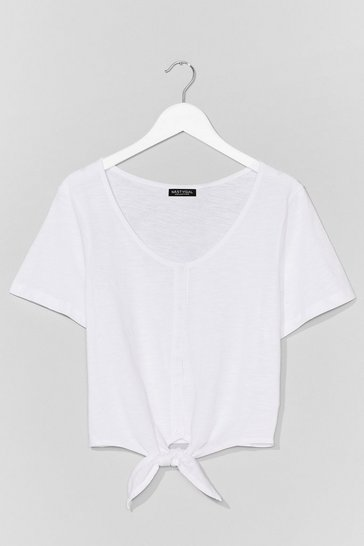 White Nothin' Button Love Tie Cropped Tee