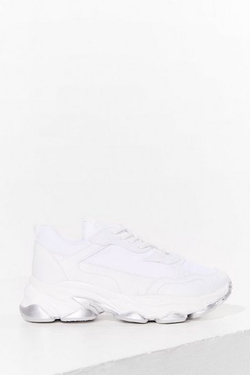 White Run to the Checkout Faux Leather Mesh Trainers