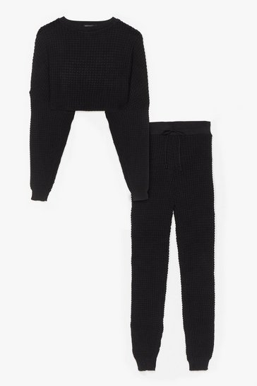 Black Knit Wasn't Me Joggers Lounge Set