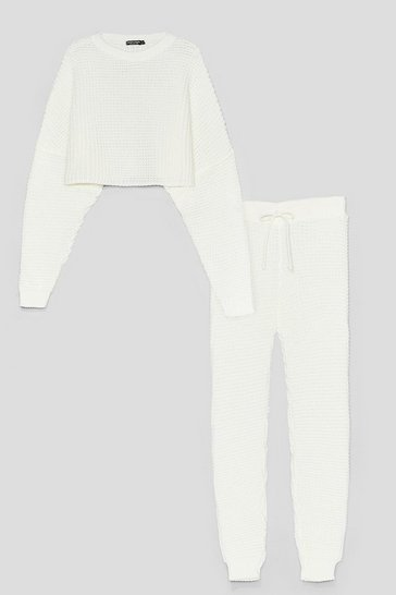 Cream Knit Wasn't Me Joggers Lounge Set