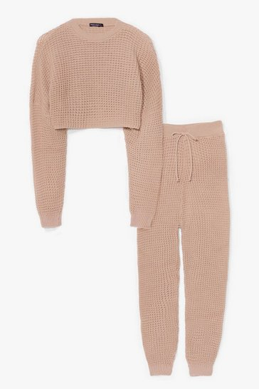 Oatmeal Knit Wasn't Me Joggers Lounge Set