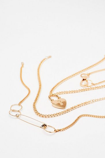 Gold Heart Padlock Necklace