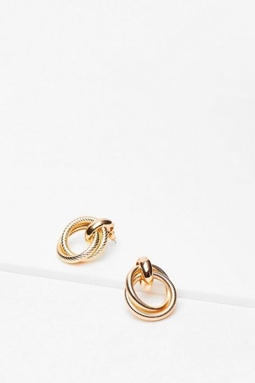 Gold Hoop Textured Drop Earrings