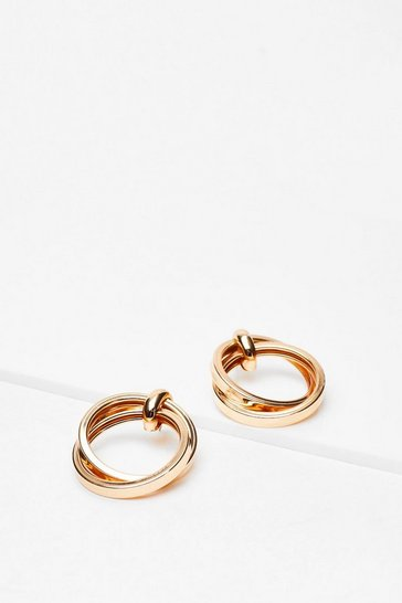 Gold Jumping Through Hoops Drop Earrings