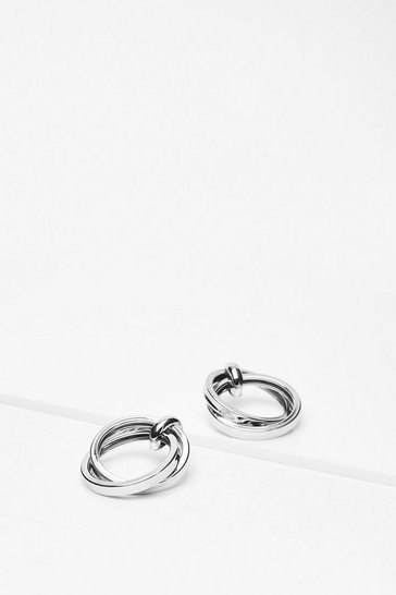 Silver Jumping Through Hoops Drop Earrings