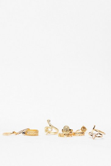 Gold Snake a Step Back 10-Pc Ring Set