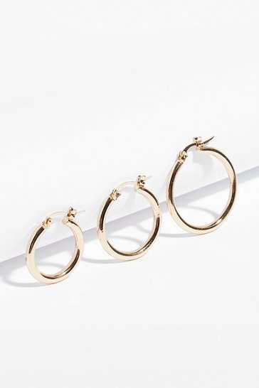 Gold Keep Us in the Loop 3-Pc Hoop Earring Set