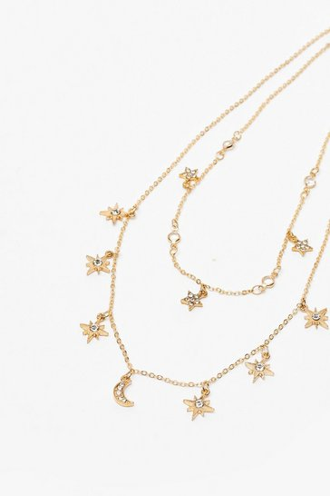 Gold Dainty Moon And Star Necklace
