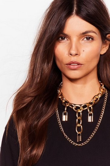 Gold Padlock You Down Layered Chain Necklace