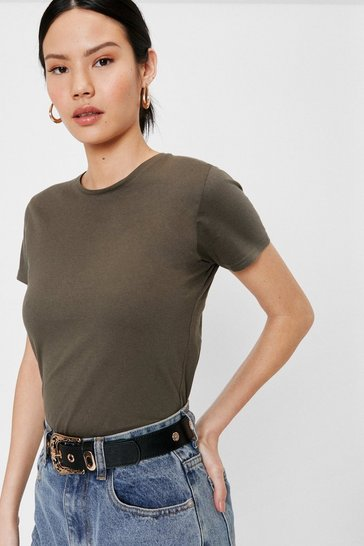 Khaki Crew Neck Short Sleeve Oversized T-Shirt