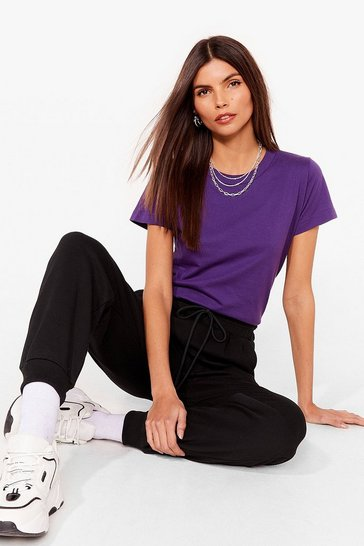 Purple Crew Neck Short Sleeve Oversized T-Shirt