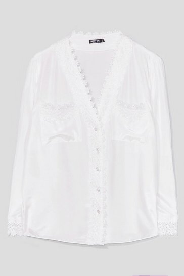 Cream No Sleek Satin Lace Shirt