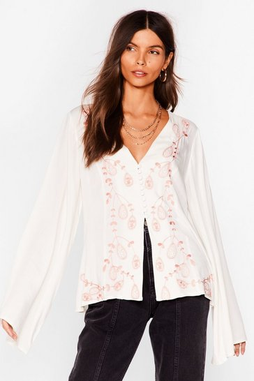 Ecru All in the Details Oversized Embroidered Blouse